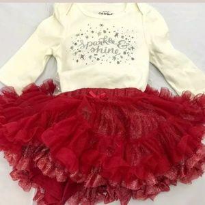 Sparkle & Shine Ruby Red Tutu skirt Cream set 3-6